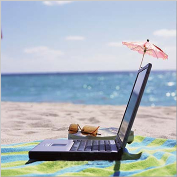 laptop on the beach